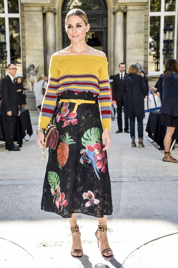 Olivia Palermo wearing a stripe sweater and floral skirt