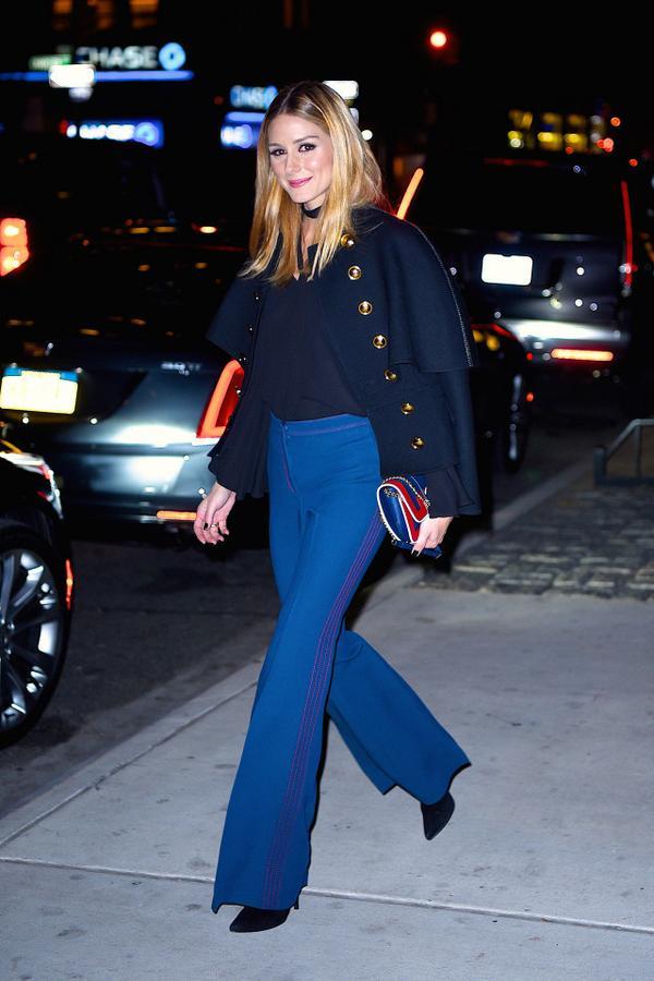 Olivia Palermo wearing wide leg pants