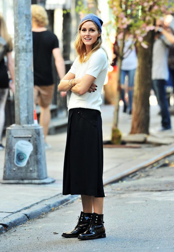 Olivia Palermo wearing a beanie