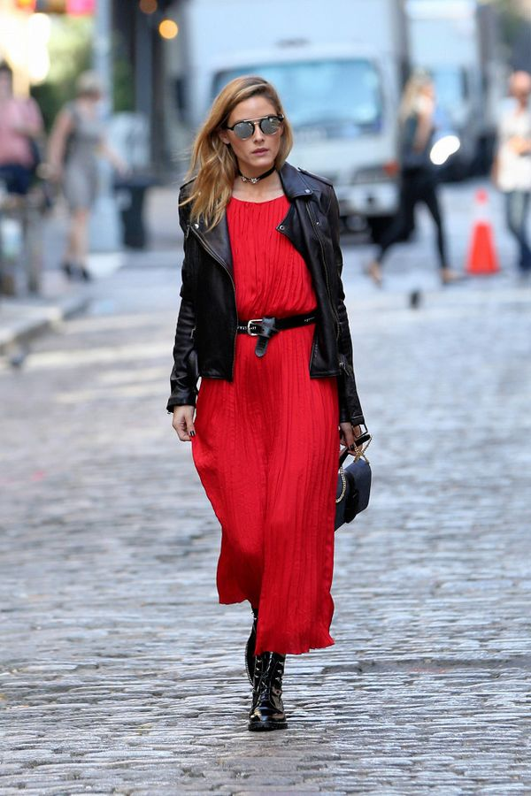 Olivia Palermo wearing a red dress