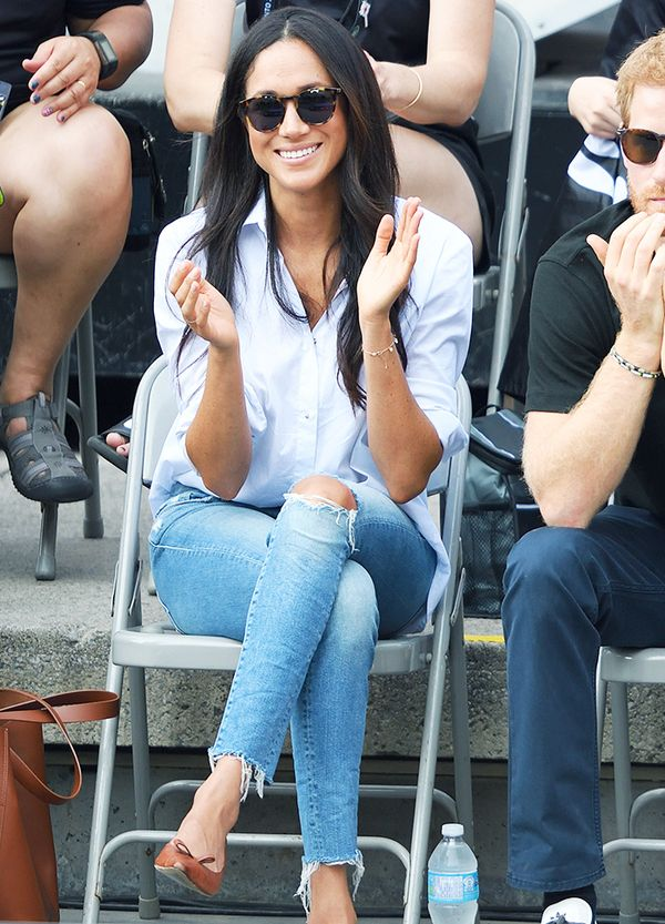 Meghan Markle: A classic button down and skinny jeans looks effortless