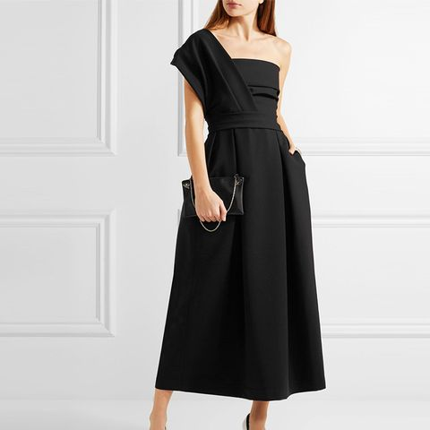 Ace One-Shoulder Pleated Stretch-Crepe Dress
