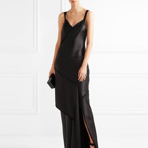 Crepe-Paneled Silk-Satin Gown
