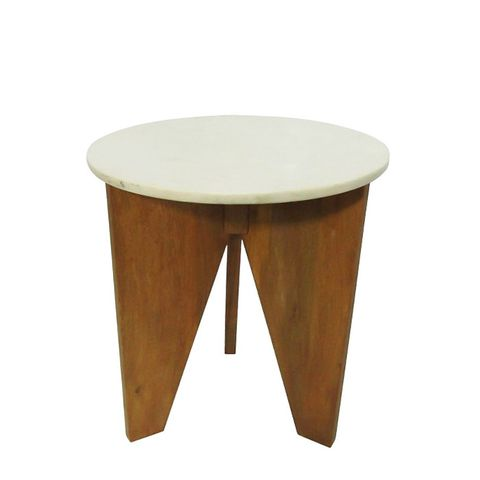 Marble and Wood Accent Table