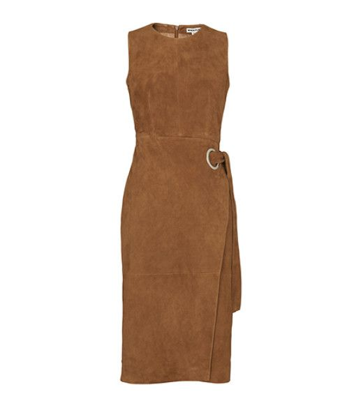 Whistles Isla Belted Suede Wrap Dress