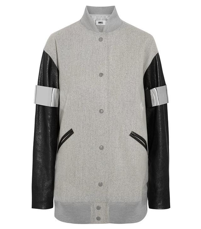 MM6 Maison Margiela Faux Leather-Paneled Bomber Jacket