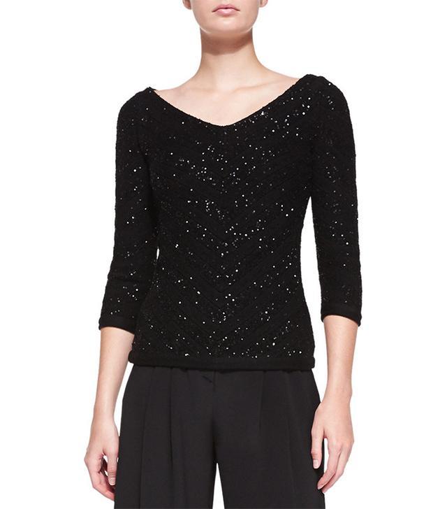 Carolina Herrera V-Neck Sequined Chevron Sweater
