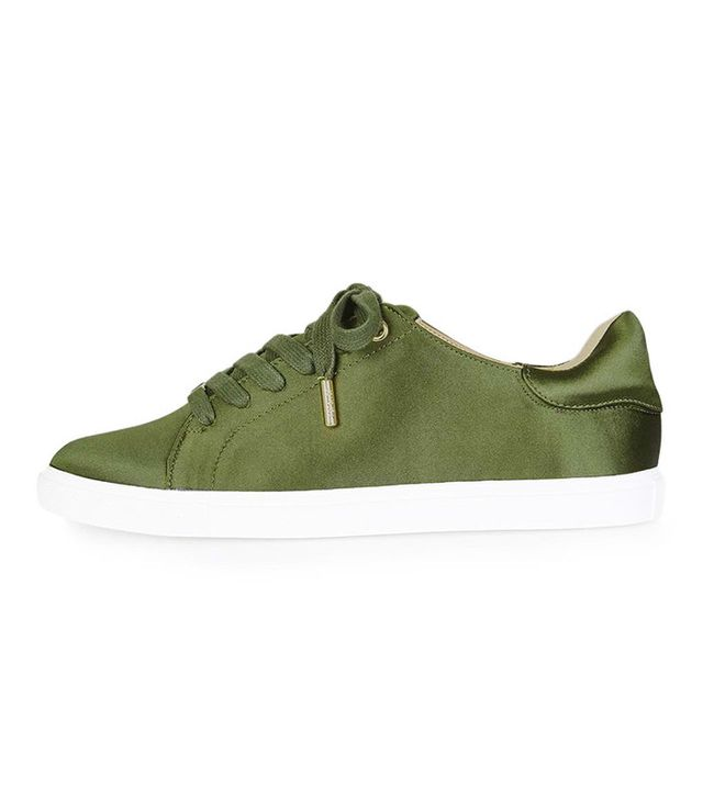 Topshop Catseye Satin Lace-Up Trainers