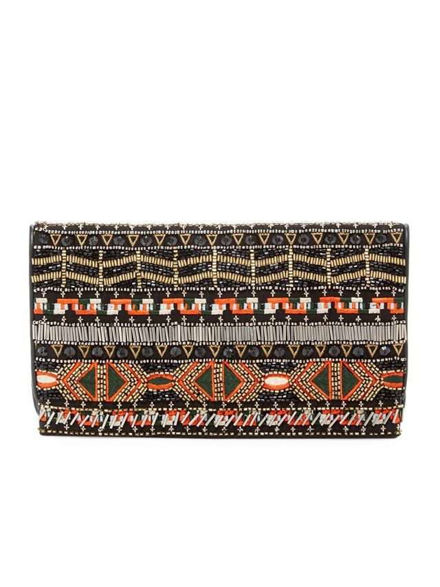 Alice and Olivia Beaded Embroidered Leather Foldover Clutch