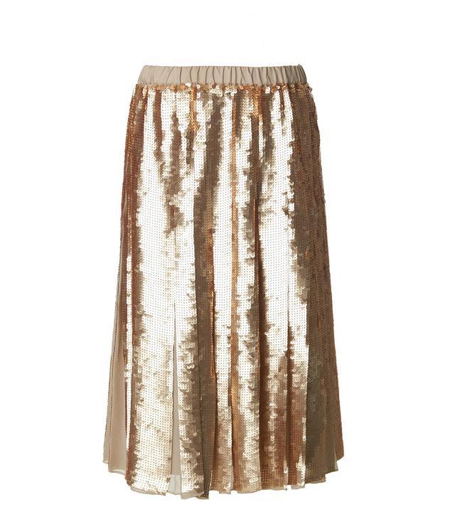 Tibi Éclair Sequins Pleated Skirt