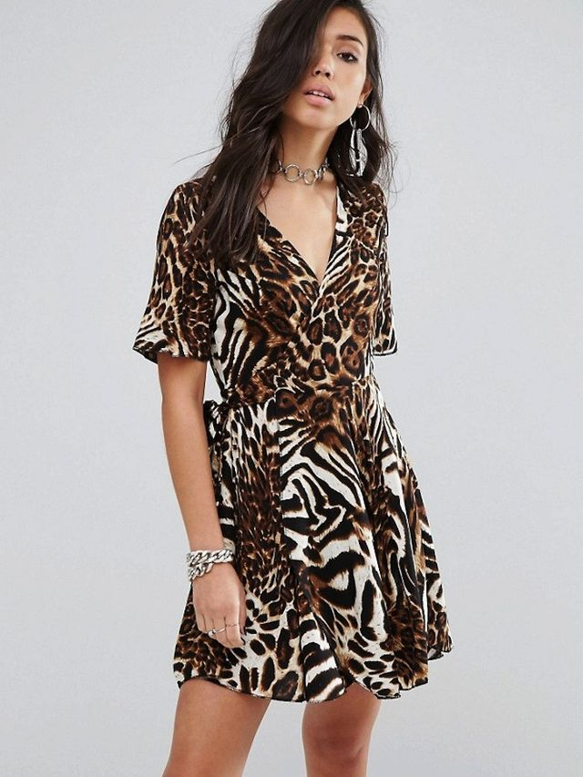 Milk It Wrap Dress In Abstract Leopard Print