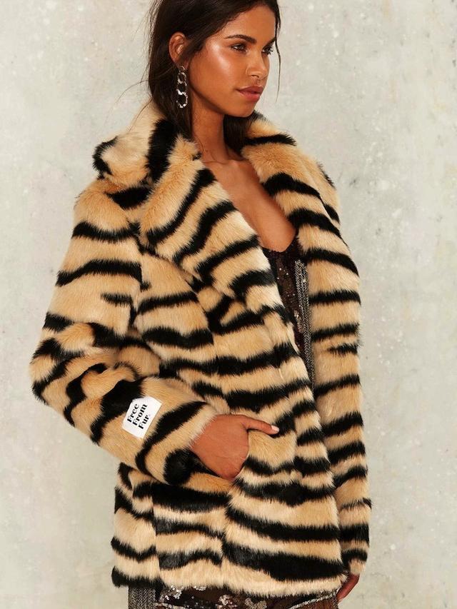 Jakke Heather Faux Fur Tiger Coat