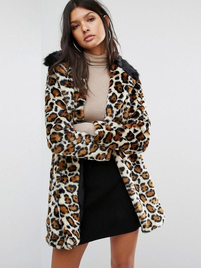 River Island Leopard Print Faux Fur Coat