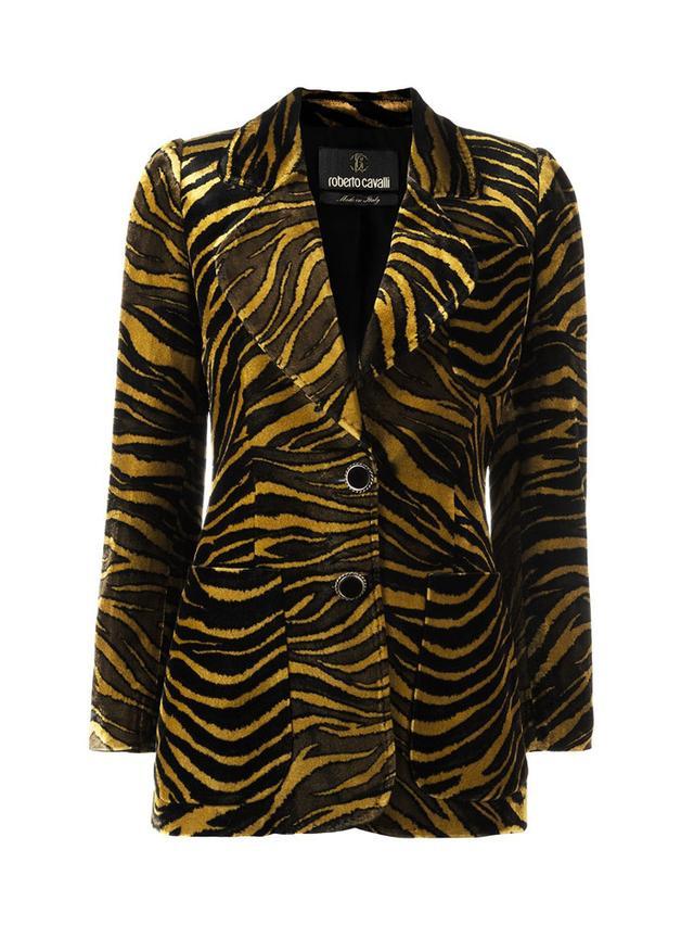 Roberto Cavalli Tiger Print Velvet Blazer