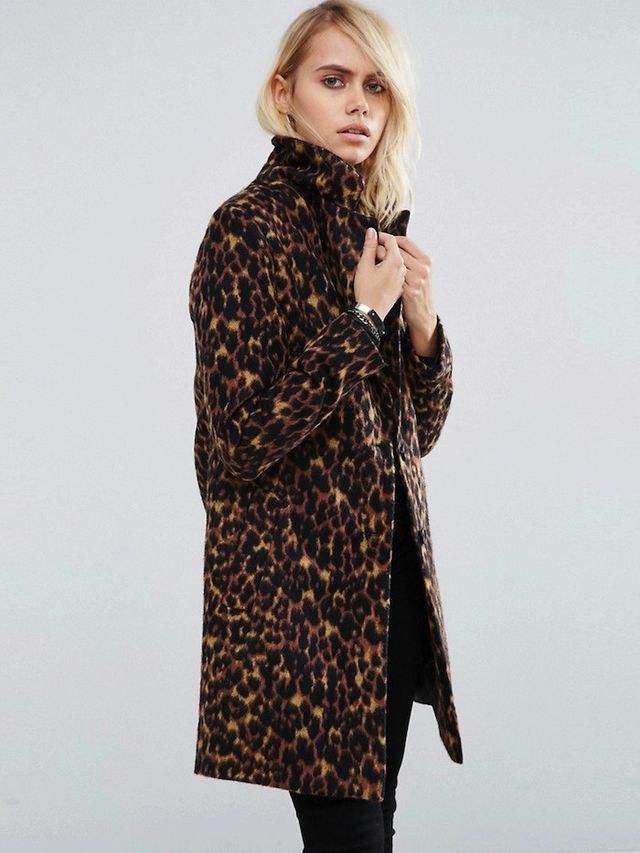 ASOS Slim Coat In Leopard Print