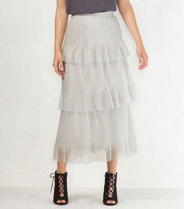 LC Lauren Conrad Tiered Tulle Midi Skirt