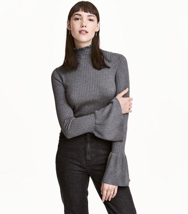 H&M Ruffled Rib-Knit Sweater