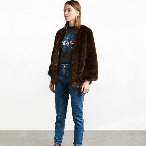 Dark Brown Faux Fur Coat