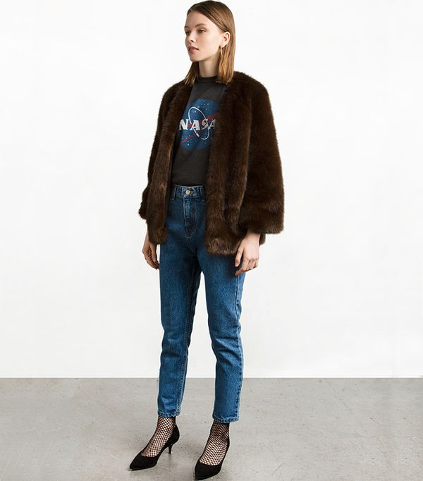 Pixie Market Dark Brown Faux Fur Coat