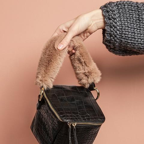 Black Croc Fur Handle Boxy Bag