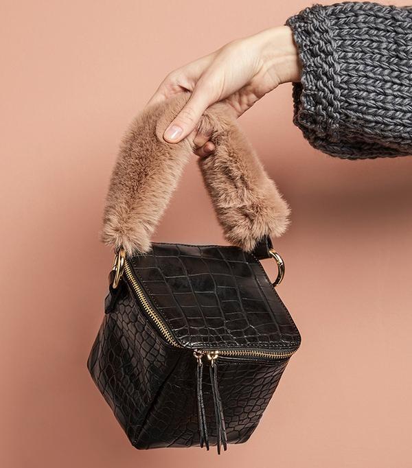 Pixie Market Black Croc Fur Handle Boxy Bag