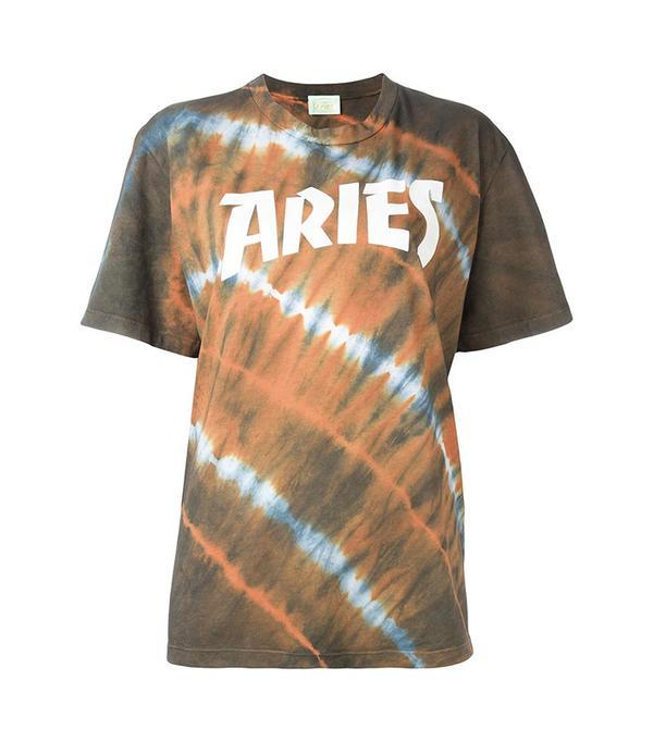 Aries Logo Print Tie Dye T-Shirt