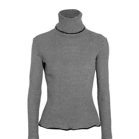Metallic-Striped Turtleneck Sweater