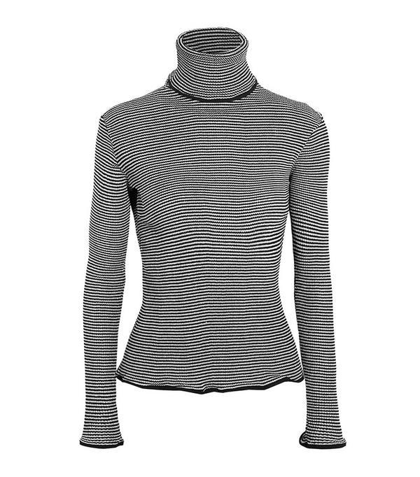 KÉJI Metallic-Striped Turtleneck Sweater
