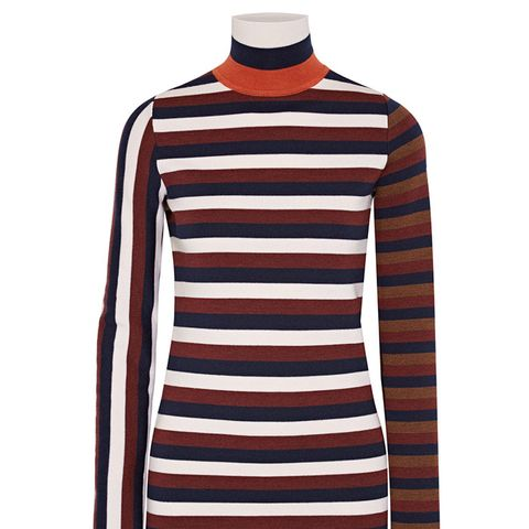 Striped Stretch Wool-Blend Turtleneck