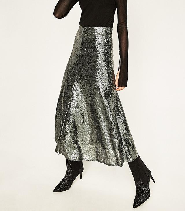 Zara Sequined Midi Skirt