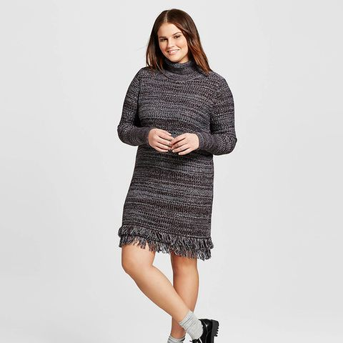 Plus Size Fringe Turtleneck Tunic Dress