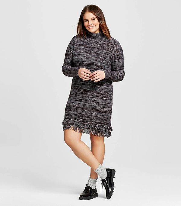 Who What Wear Plus Size Fringe Turtleneck Tunic Dress
