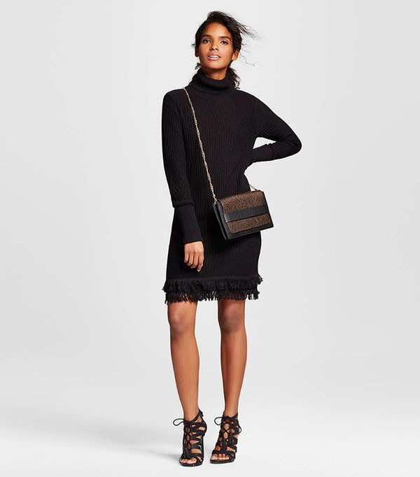 Who What Wear Fringe Turtleneck Tunic Dress