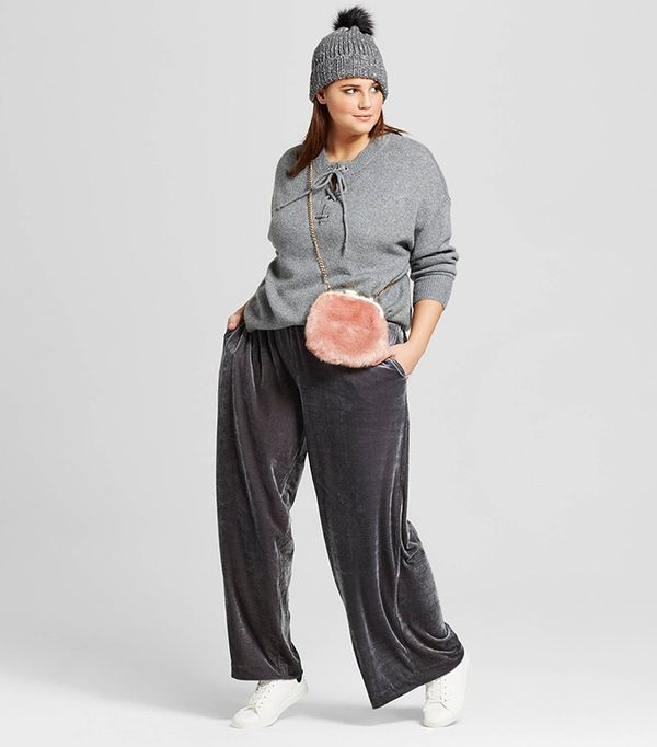 Who What Wear Plus Size Lace-Up Sweater