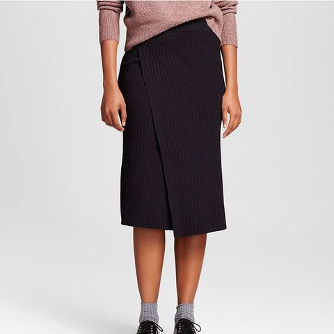 Slim Rib Wrap Skirt