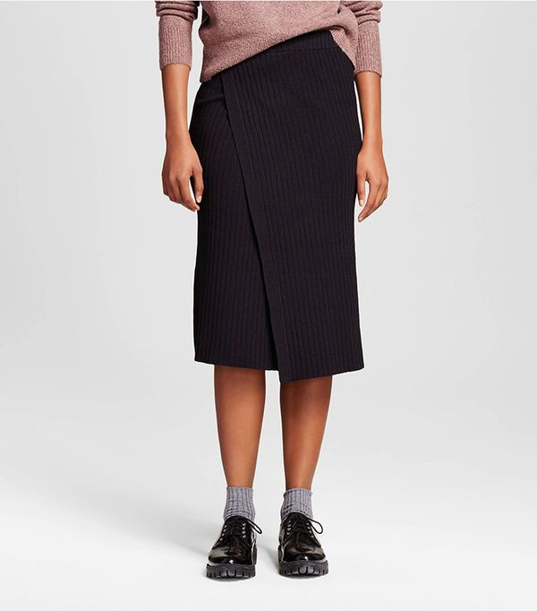 Who What Wear Slim Rib Wrap Skirt