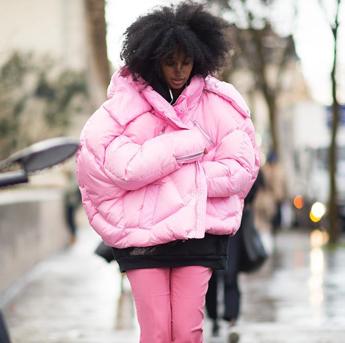 Puffer down coat street style Julia Sarr-Jamois