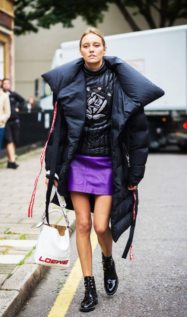 Puffer down coat street style