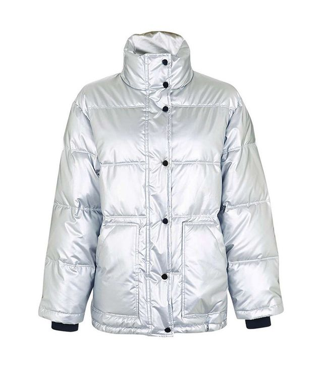 Topshop Bianca Metallic Puffer Jacket