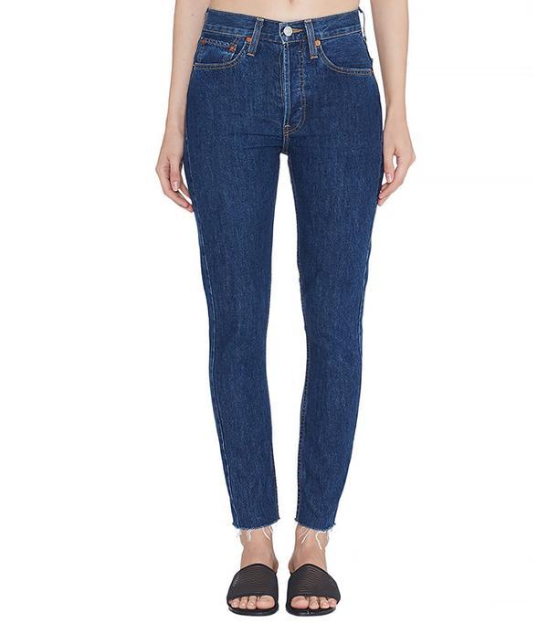 RE/DONE Originals High Rise Ankle Crop Jeans in Rigid Dark 2 Wash