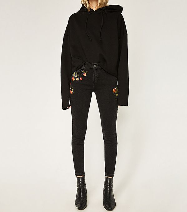 Zara Mid Rise Embroidered Skinny Jeans
