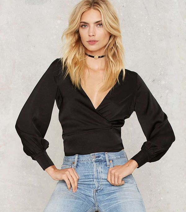 Nasty Gal Crops and Robbers Wrap Blouse