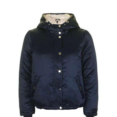 Satin Faux Fur Lined Jacket
