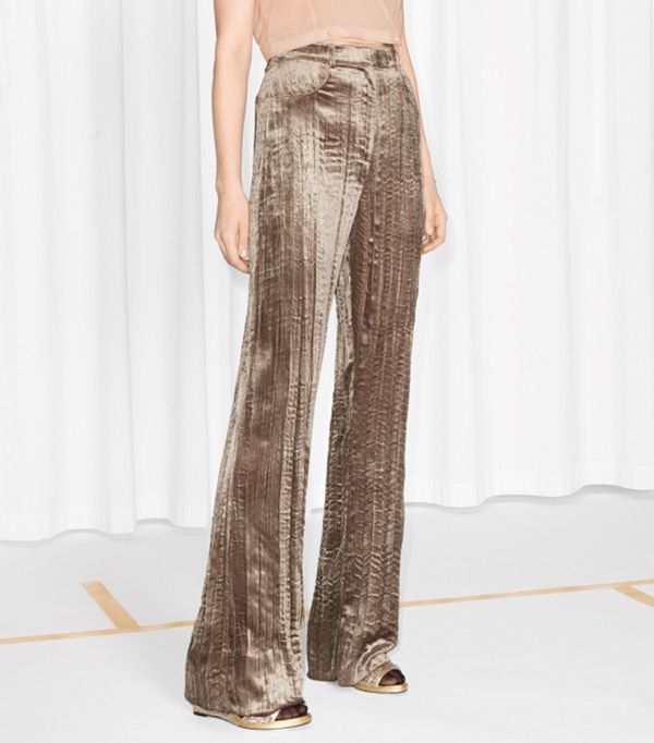 & Other Stories Crushed Velvet Trousers