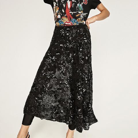 Sequinned Mesh Skirt