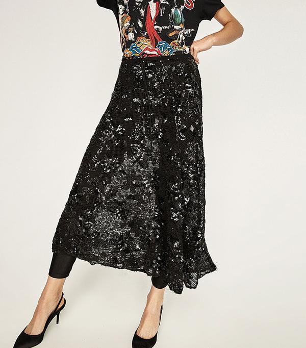 Zara Sequinned Mesh Skirt