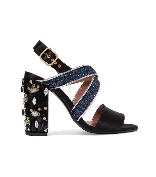 Marni Leather-Trimmed Embellished Satin Sandals