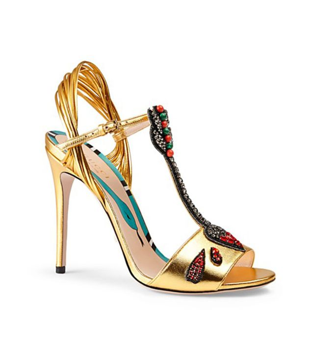 Gucci Embroidered Leather Sandals