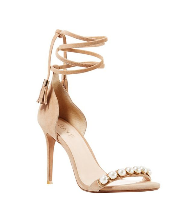 Raye Bennie Faux Pearl Studded Ankle Strap High Heel Sandals