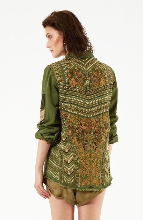 Spell & The Gypsy Collective Panther Embellished Army Jacket